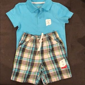 Polo shirt and plaid short set